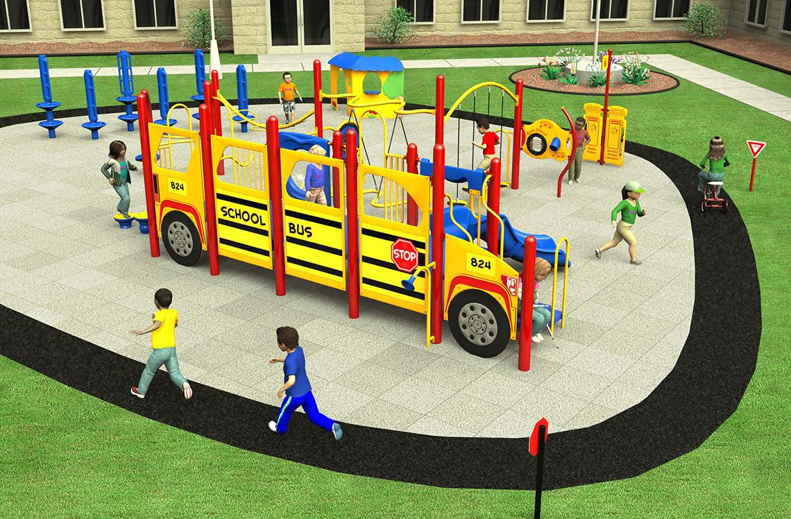 School Bus Themed Playground