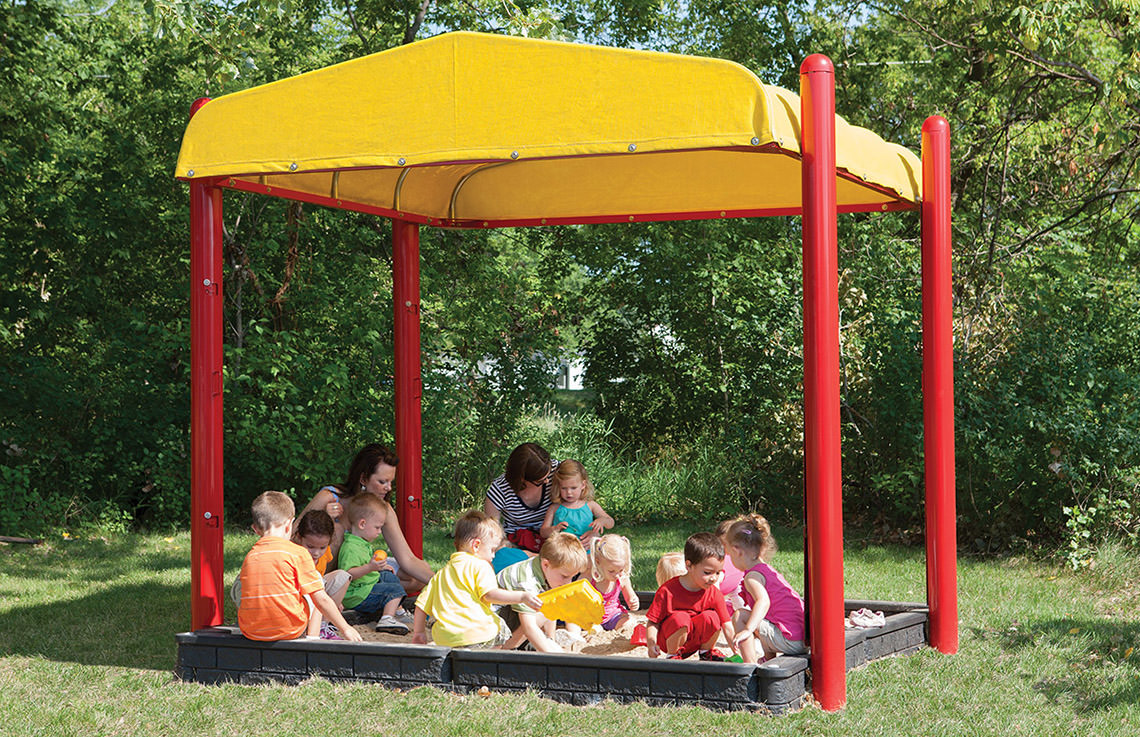 Turtle Top Playground Sandbox Cover - Open