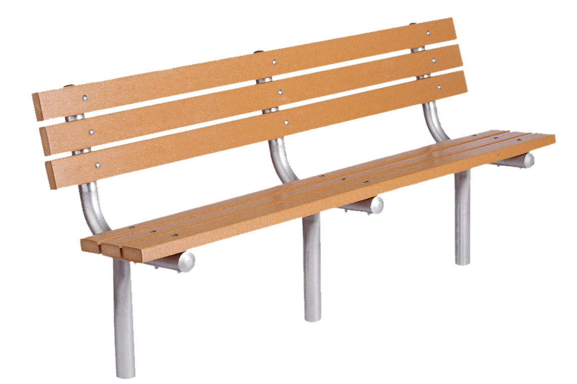 6' recycled plastic bench for playgrounds or parks