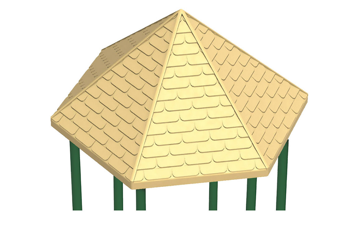 Plastic hexagonal peak roof for Roof peak decorations