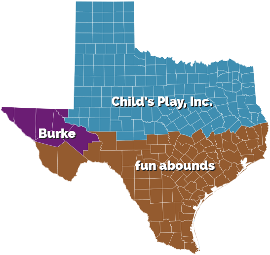Texas Commercial Playground Equipment Representative Map